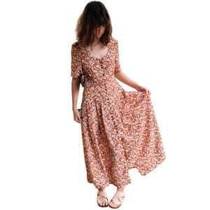 Vintage 80s Floral Short Sleeve Maxi Dress Size 8